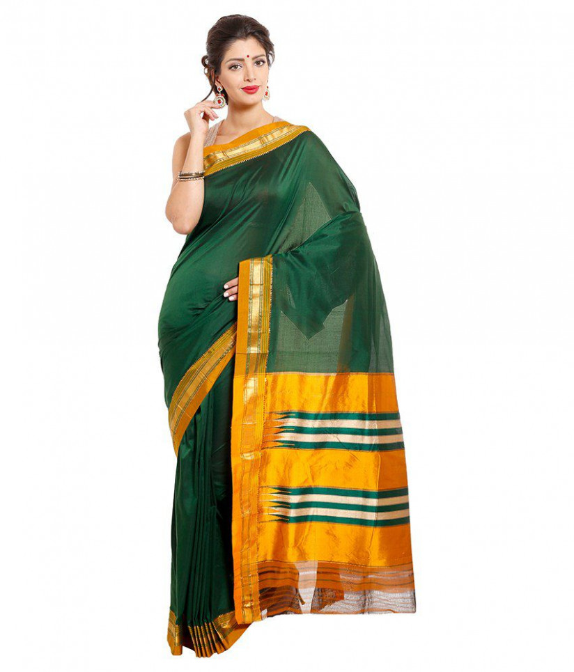 Dhammanagi Green Silk Ilkal Saree - Buy Dhammanagi Green