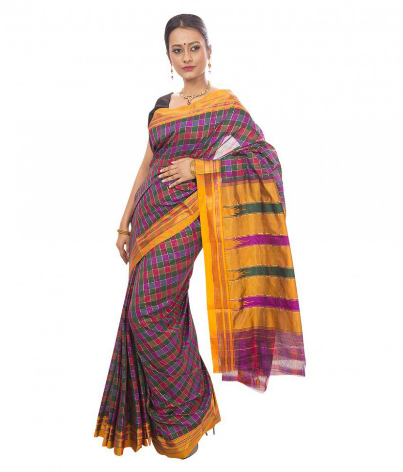 Dhammanagi Multi Color Cotton Silk Ilkal Saree - Buy