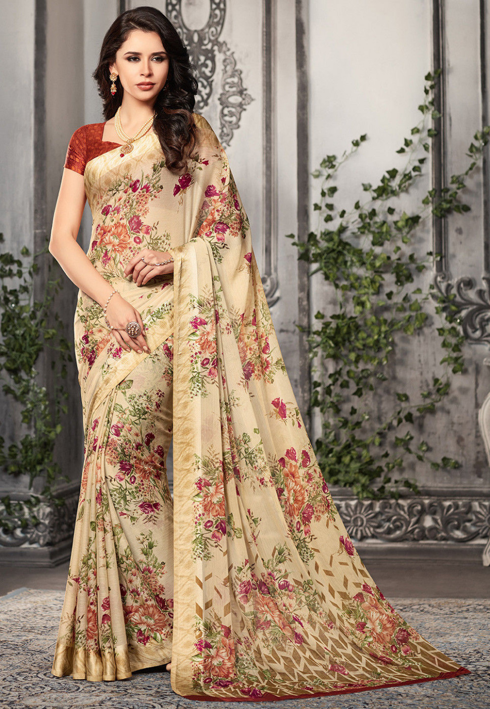 Digital Printed Chiffon Saree in Light Beige : SSF5062