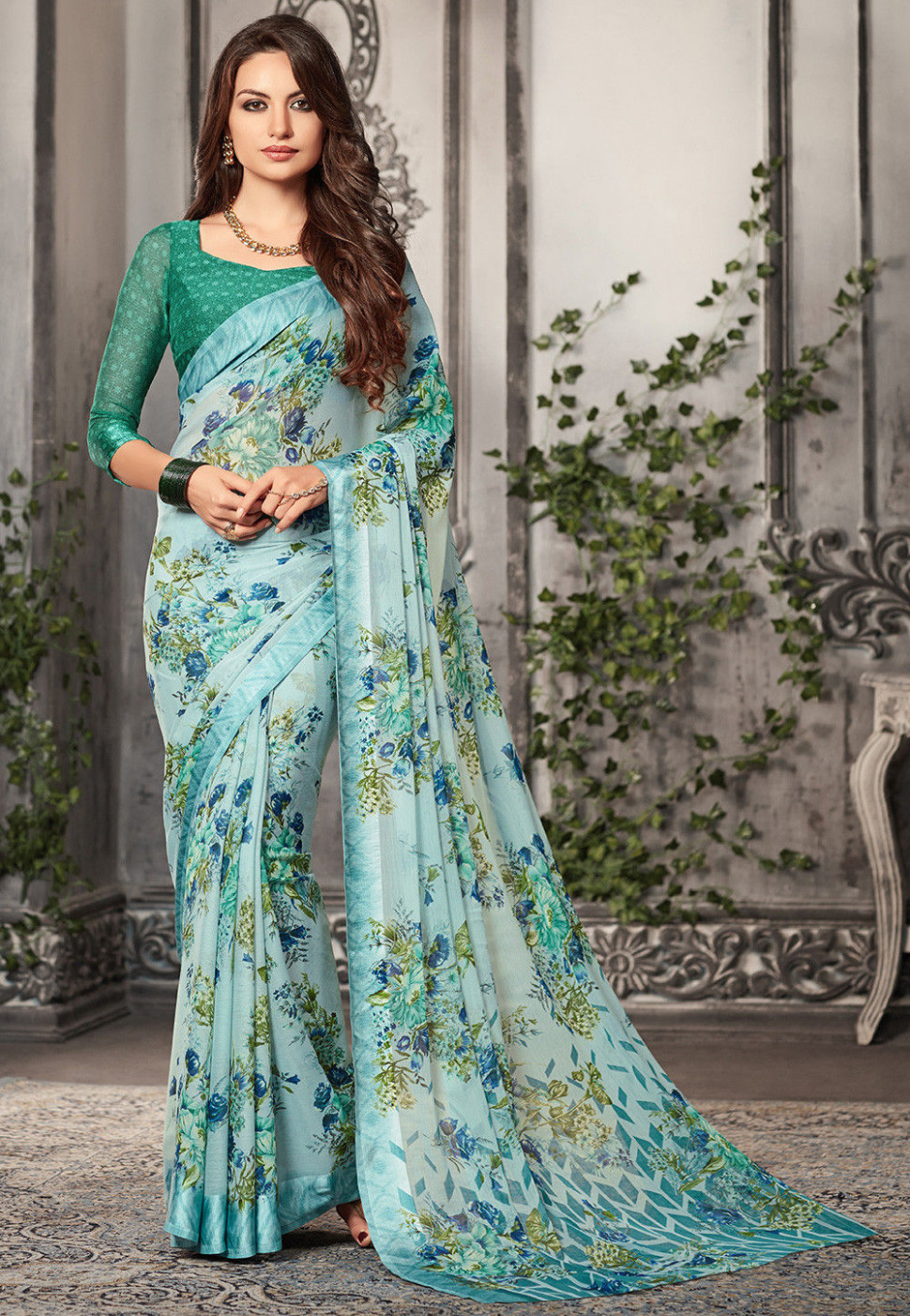 Digital Printed Chiffon Saree in Pastel Blue : SSF5061
