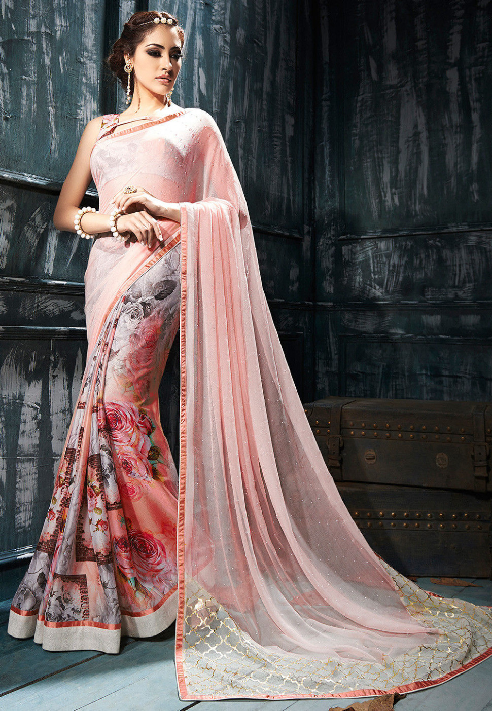 Digital Printed Chiffon Saree in Peach : SNBA1361