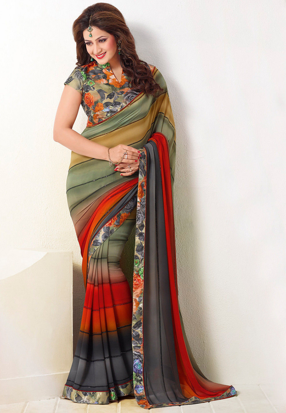Digital Printed Georgette Saree in Multicolor : SSF5891