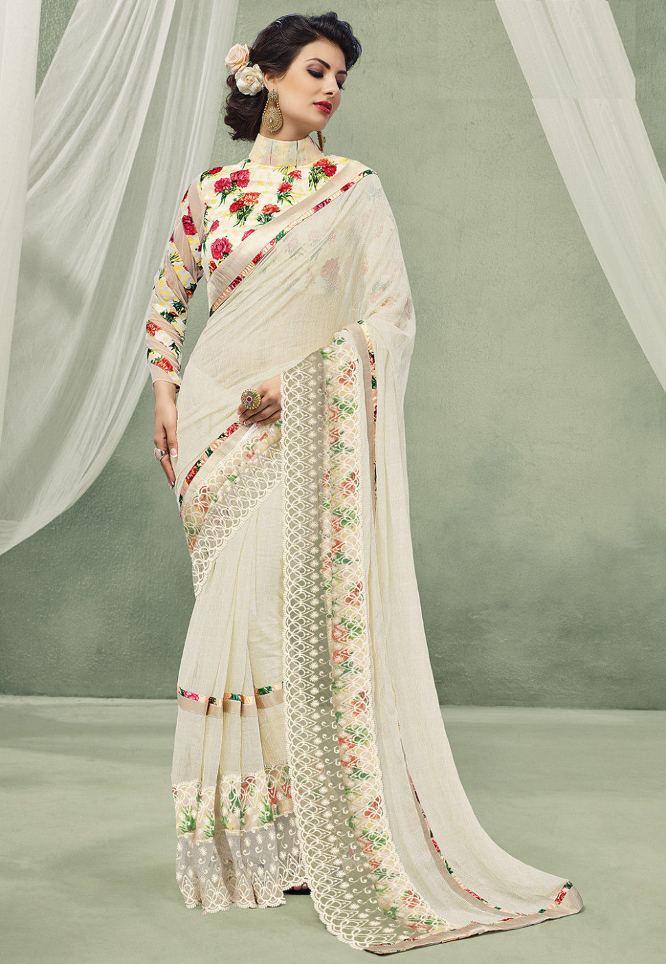 Digital Printed Georgette Saree in Off White : SSF4529