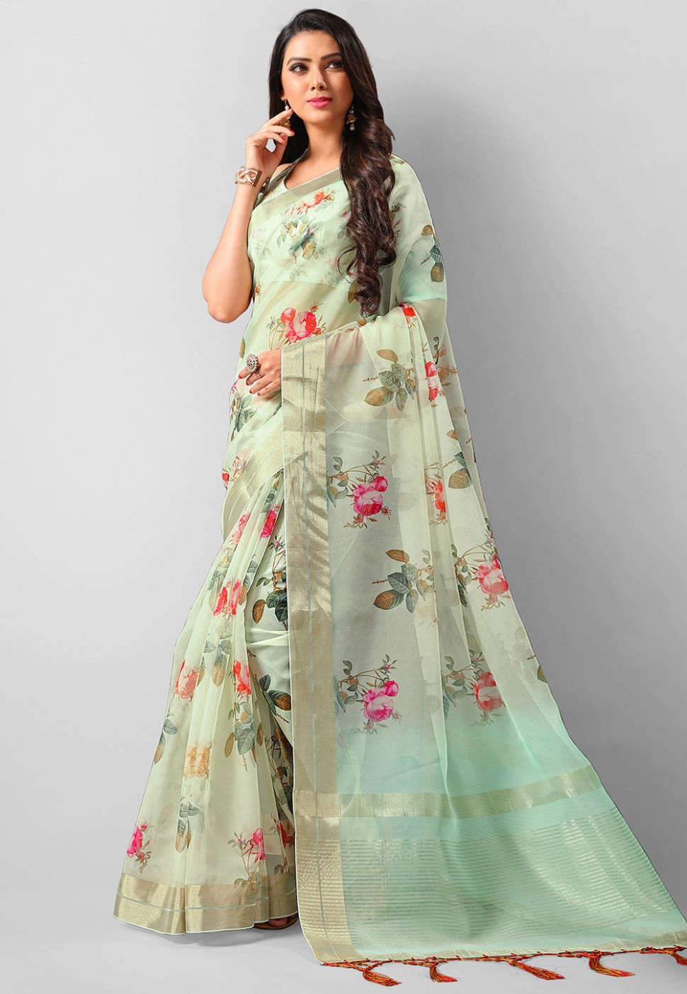 Digital Printed Organza Saree in Pastel Green : SSF6880