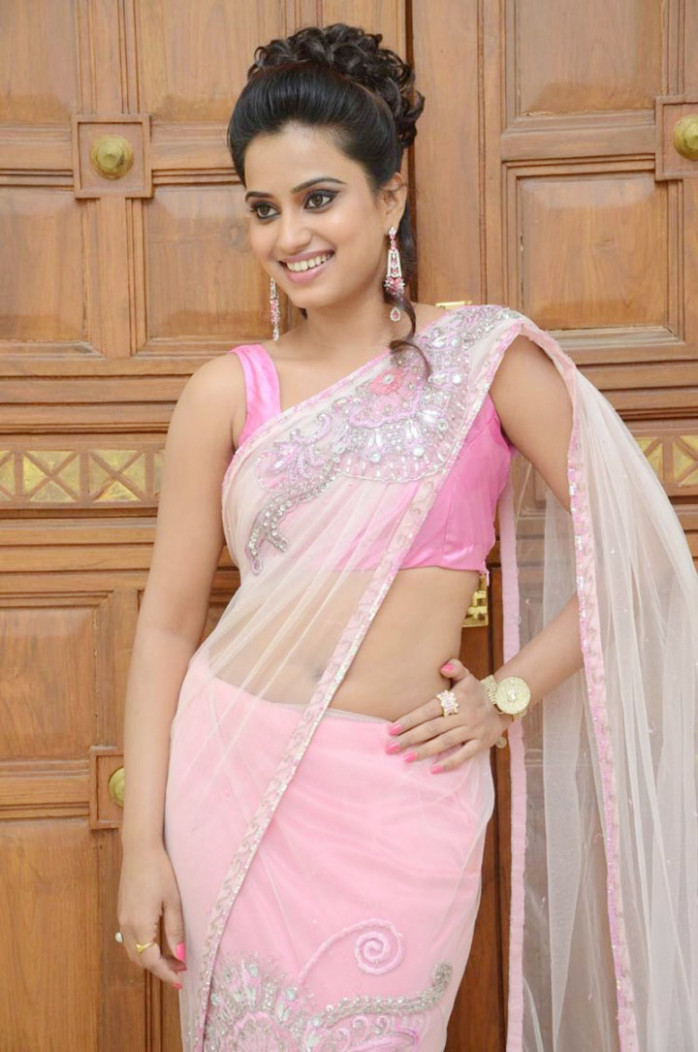 Dimple Chopade in Pink Saree at Romance Audio Launch Event