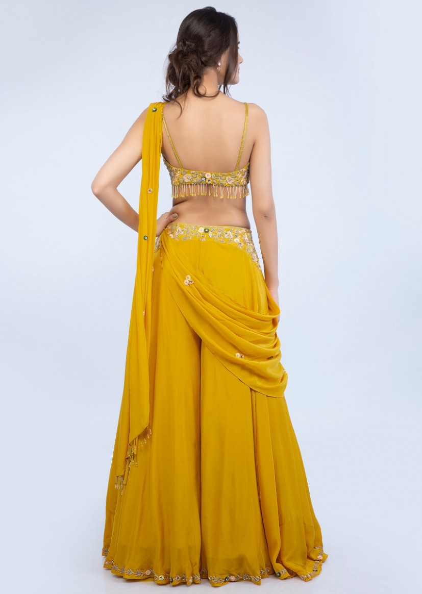 Dustan sun mustard palazzo saree with embroidered crop top