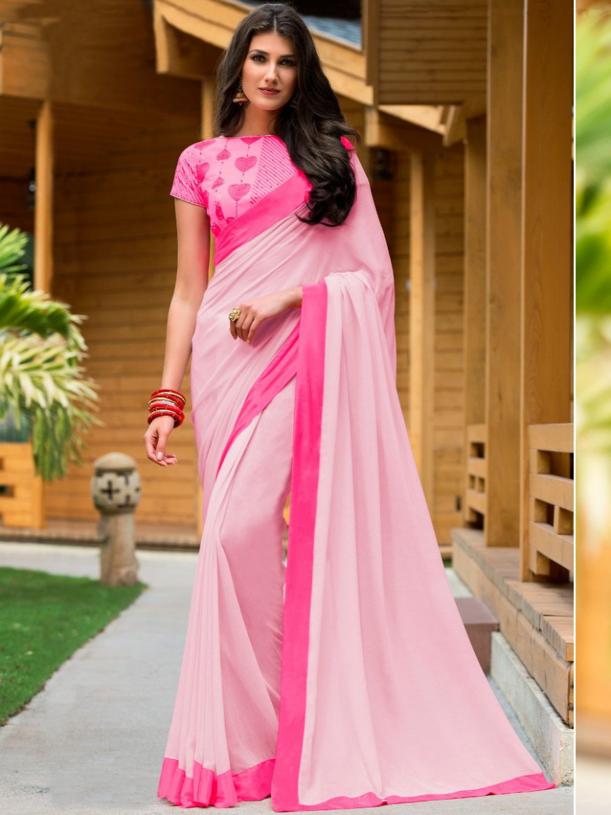 Elegance Light Pink Saree With Embroidered Blouse