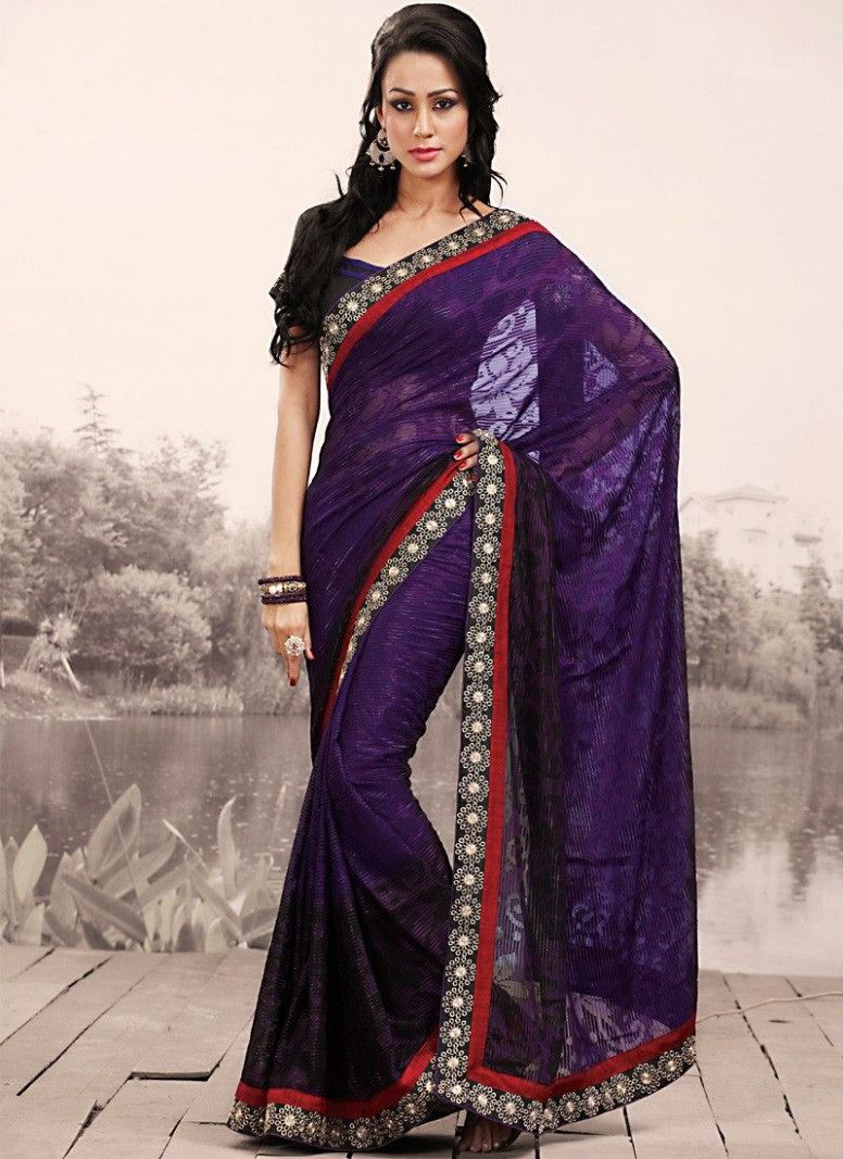 Elegant Black & Navy Blue Embroidered Saree