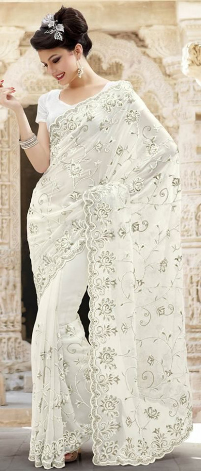 Elegant bridal white saree #southasianwedding #