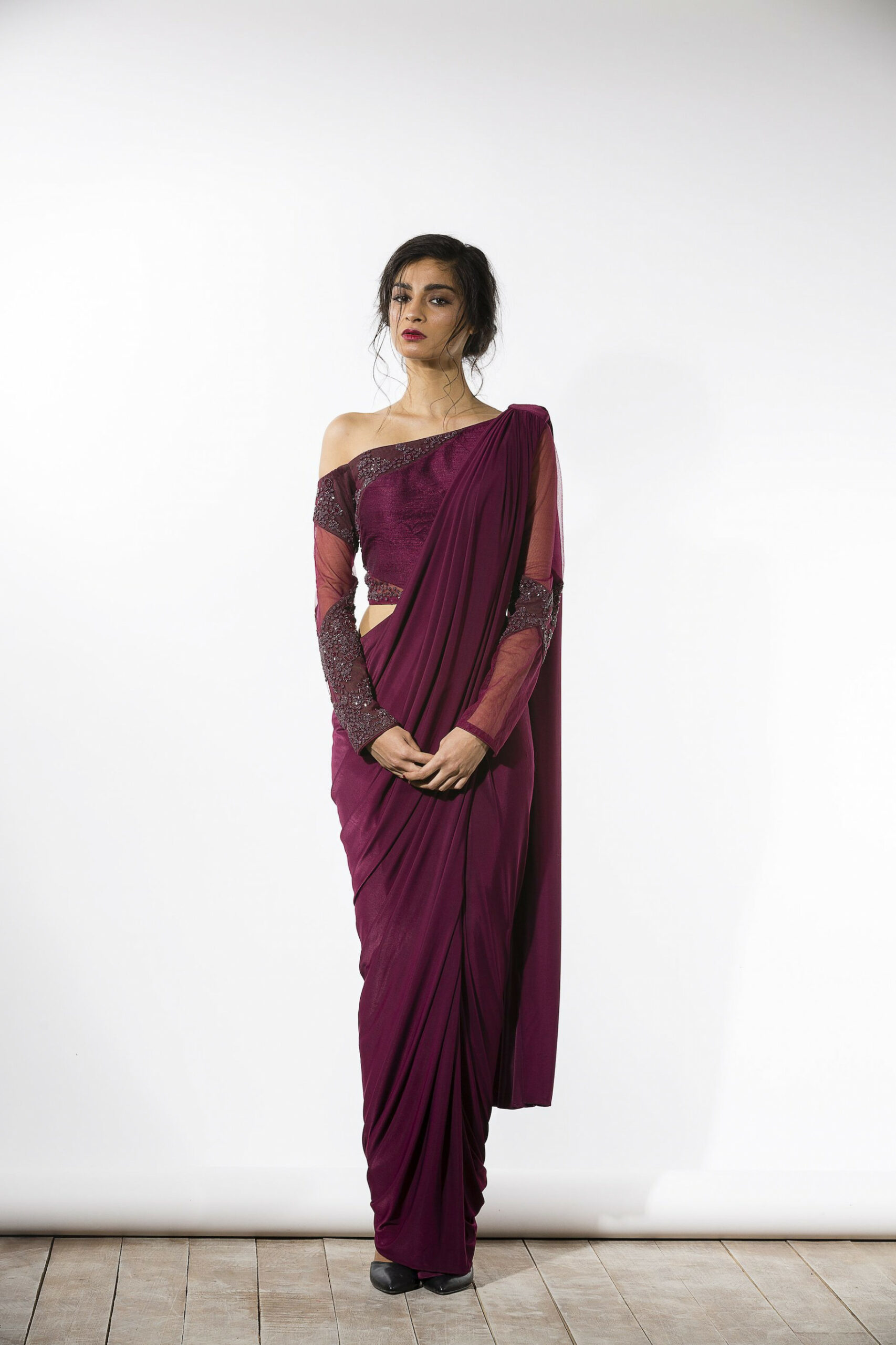 Elegant Saree Drape and off-shoulder choli blouse