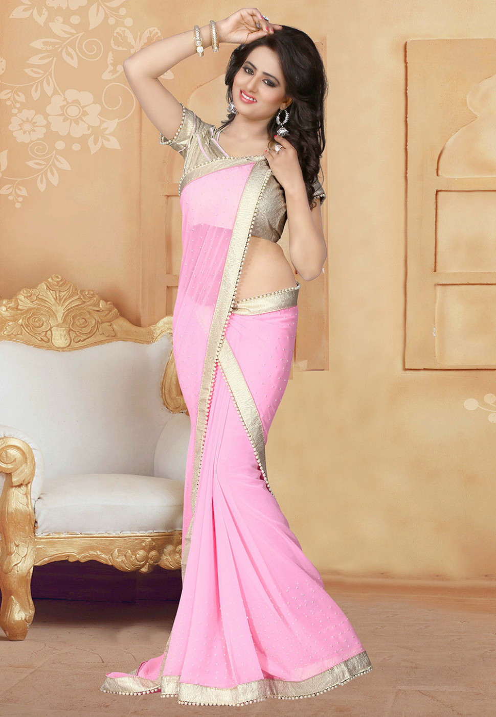 Embellished Georgette Saree in Light Pink : SCBA120