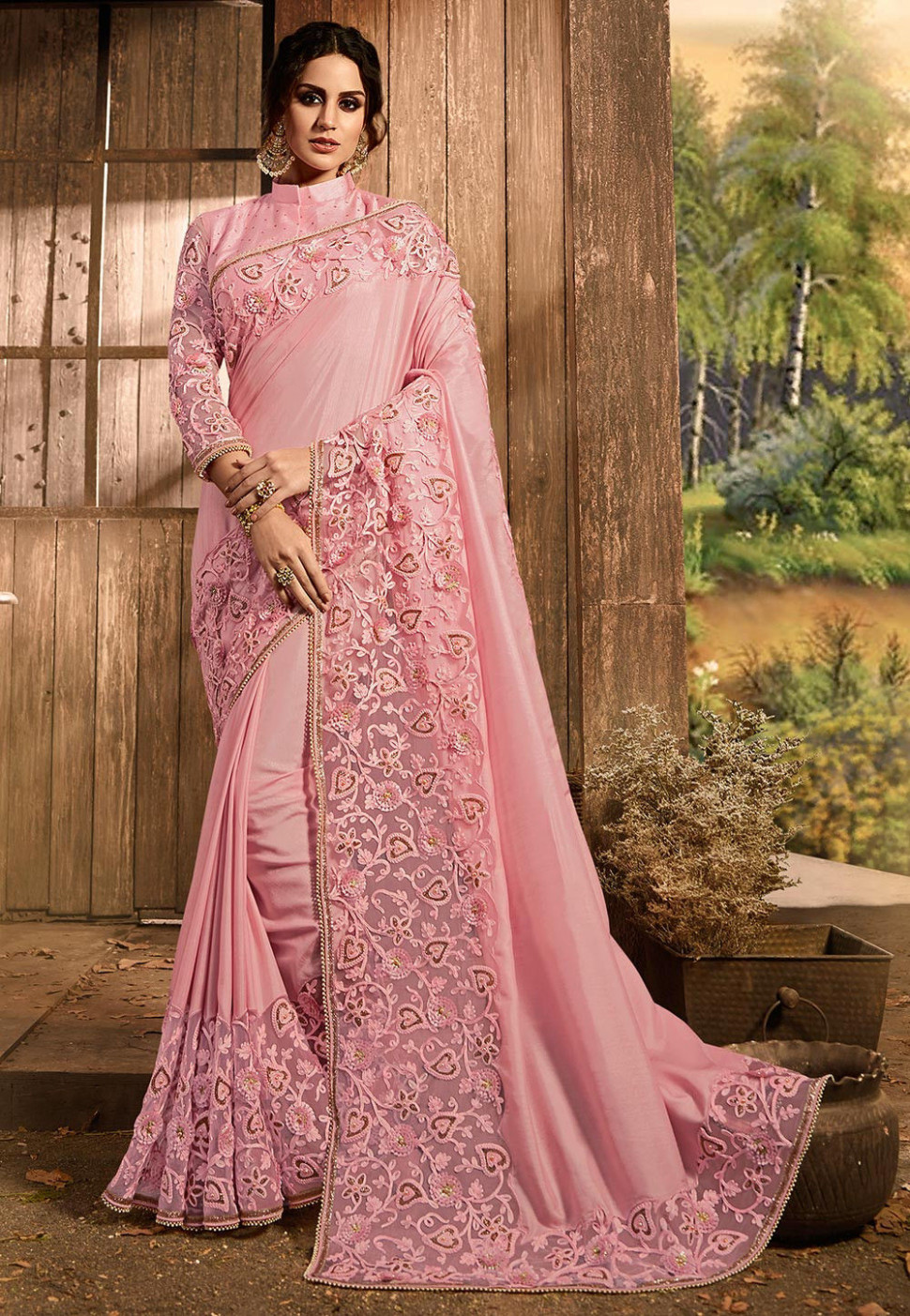 Embroidered Art Silk and Net Saree in Baby Pink : SSHA1567