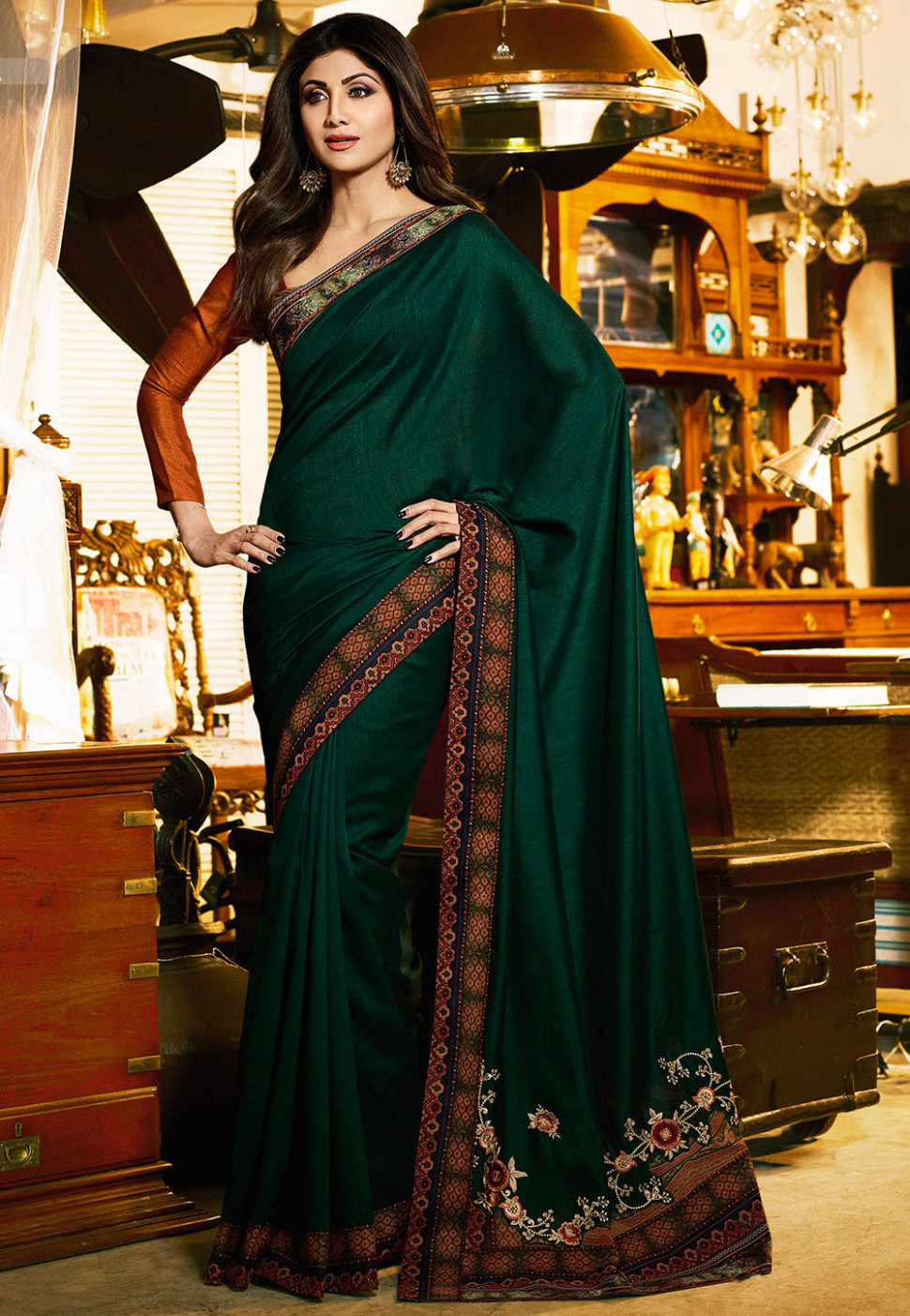 Embroidered Art Silk Saree in Dark Green : SSF6024