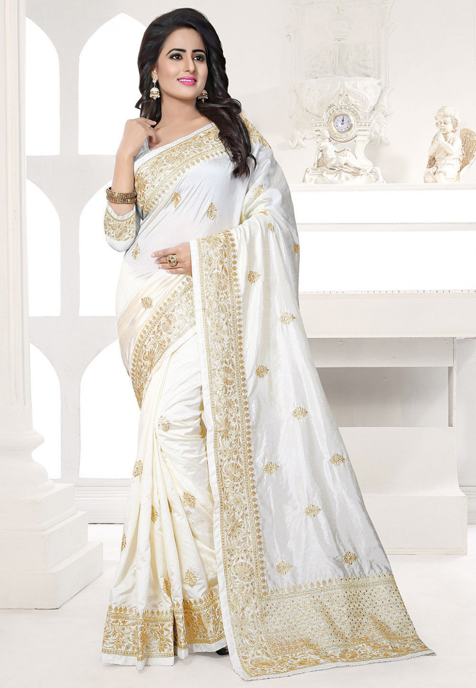 Embroidered Art Silk Saree in Off White : SPFA2396