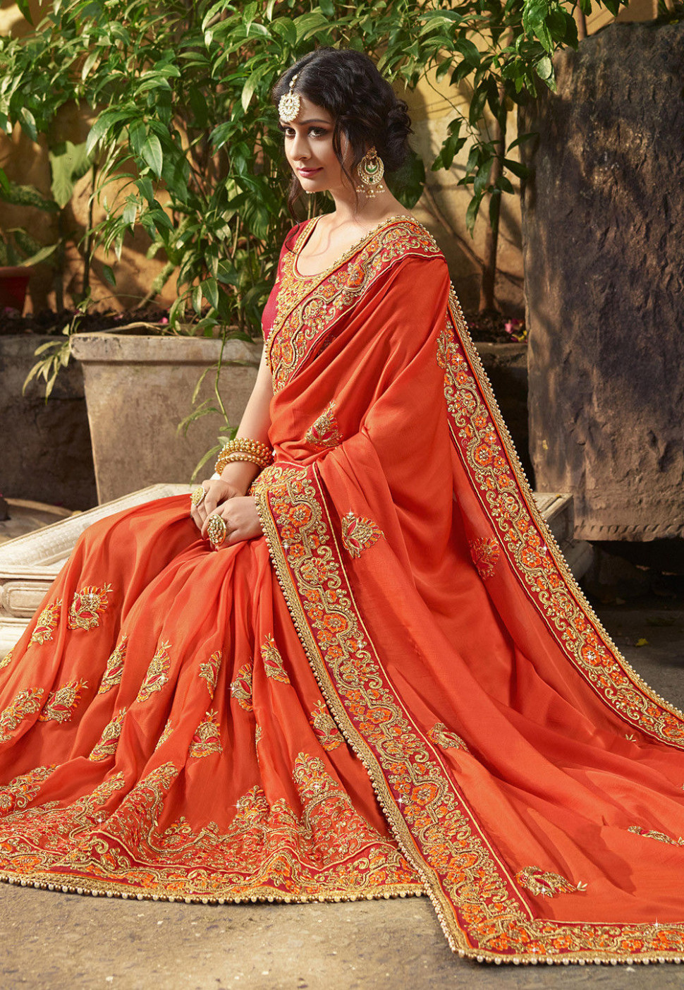 Embroidered Art Silk Saree in Orange : SEW5736