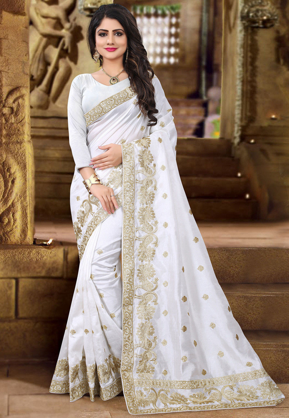 Embroidered Art Silk Saree in White : SELA12
