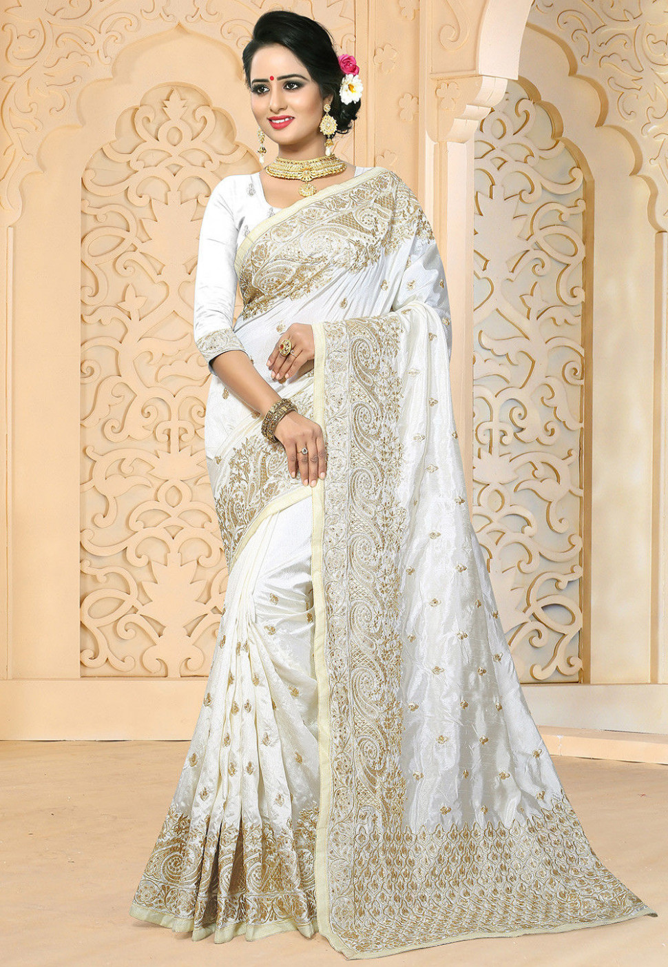 Embroidered Art Silk Saree in White : SPFA2703