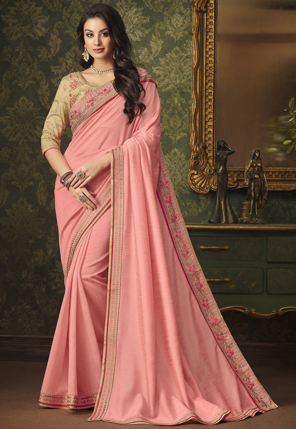 Embroidered Border Art Silk Saree in Light Pink : SSF6707