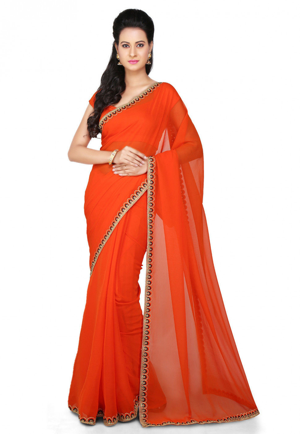 Embroidered Border Chiffon Saree in Orange : SEH1078