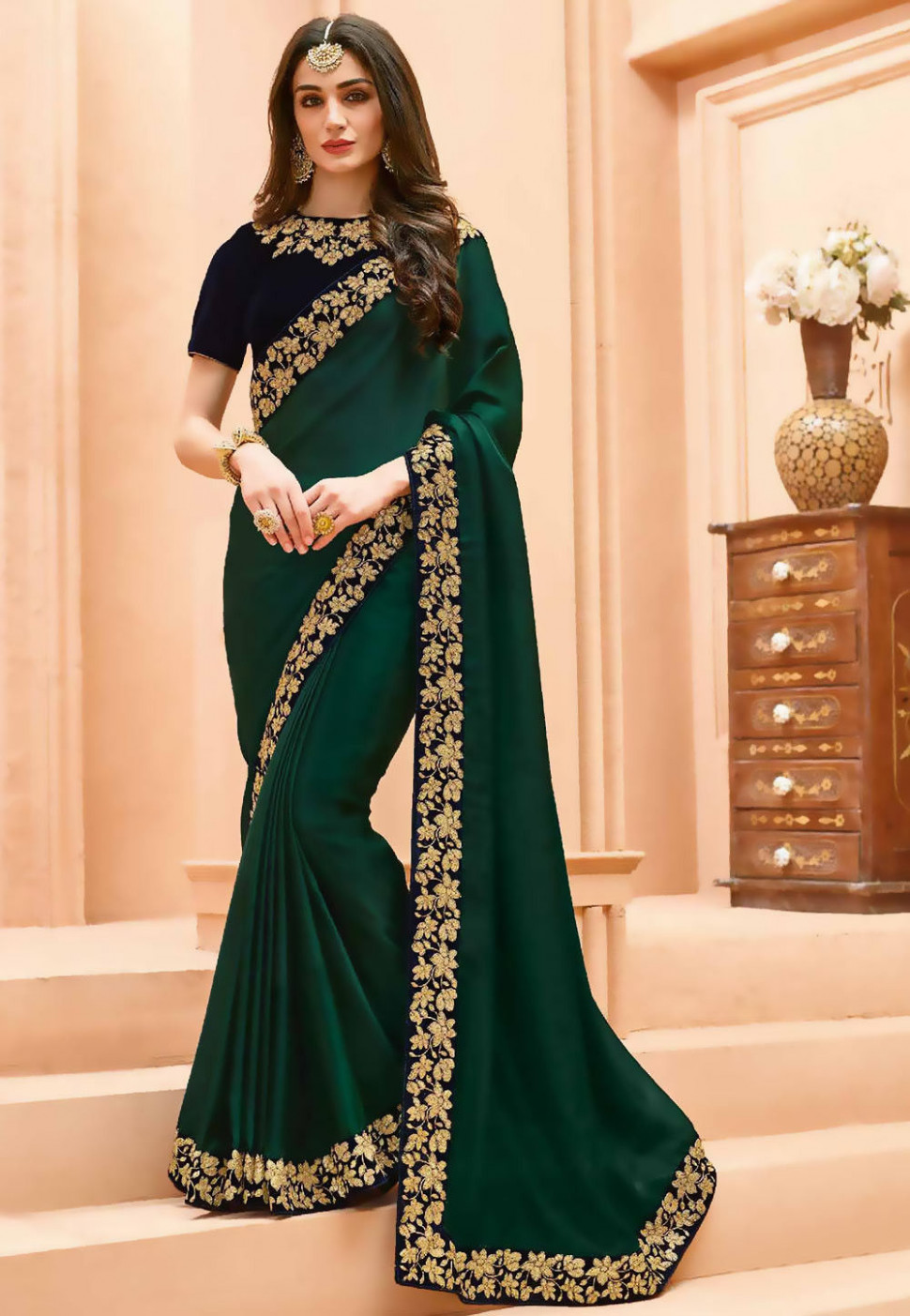 Embroidered Border Crepe Saree in Dark Green : SEW5420