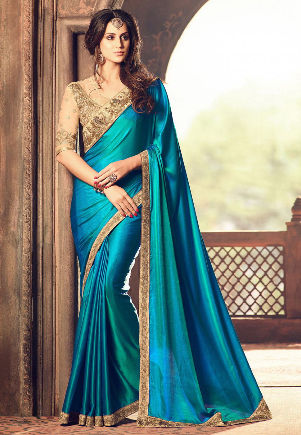Embroidered Bordered Crepe Saree in Teal Blue : SYC6347