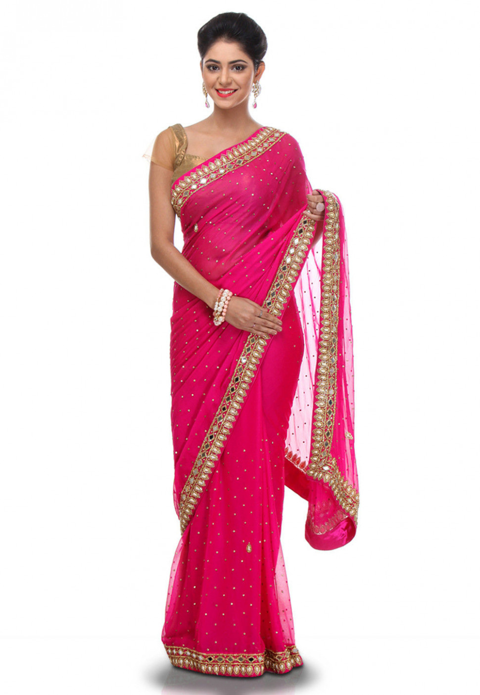 Embroidered Chiffon Saree in Fuchsia : SEH710