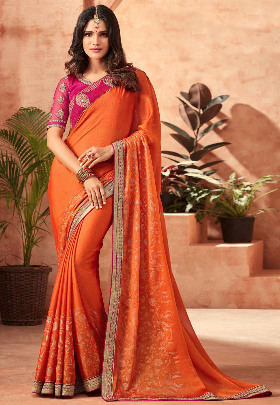 Embroidered Chiffon Saree in Orange : SYC7953