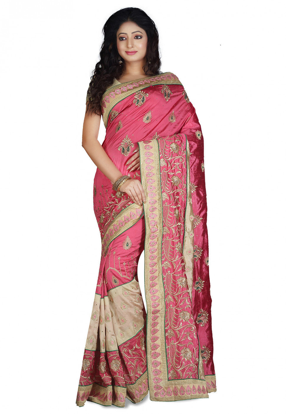 Embroidered Dupion Silk Saree in Coral Pink : SUD1608