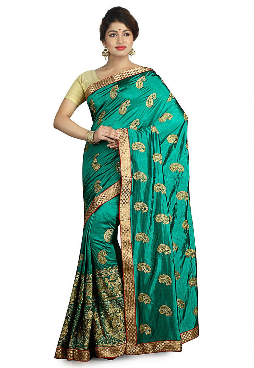 Embroidered Dupion Silk Saree in Teal Green : SUD1446