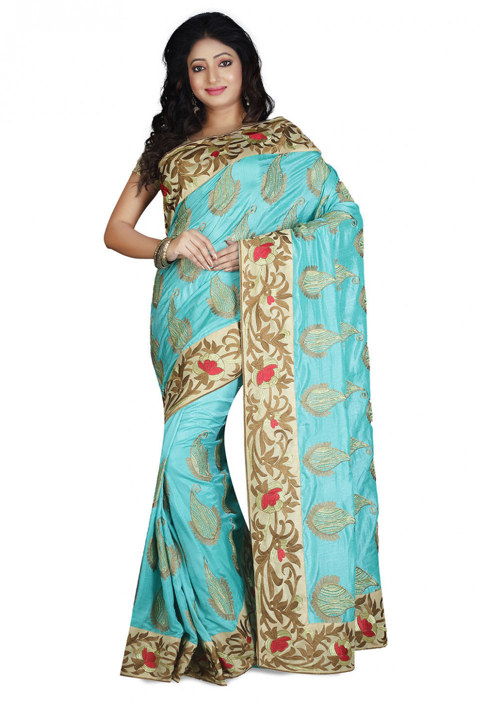 Embroidered Dupion Silk Saree in Turquoise : SUD1617