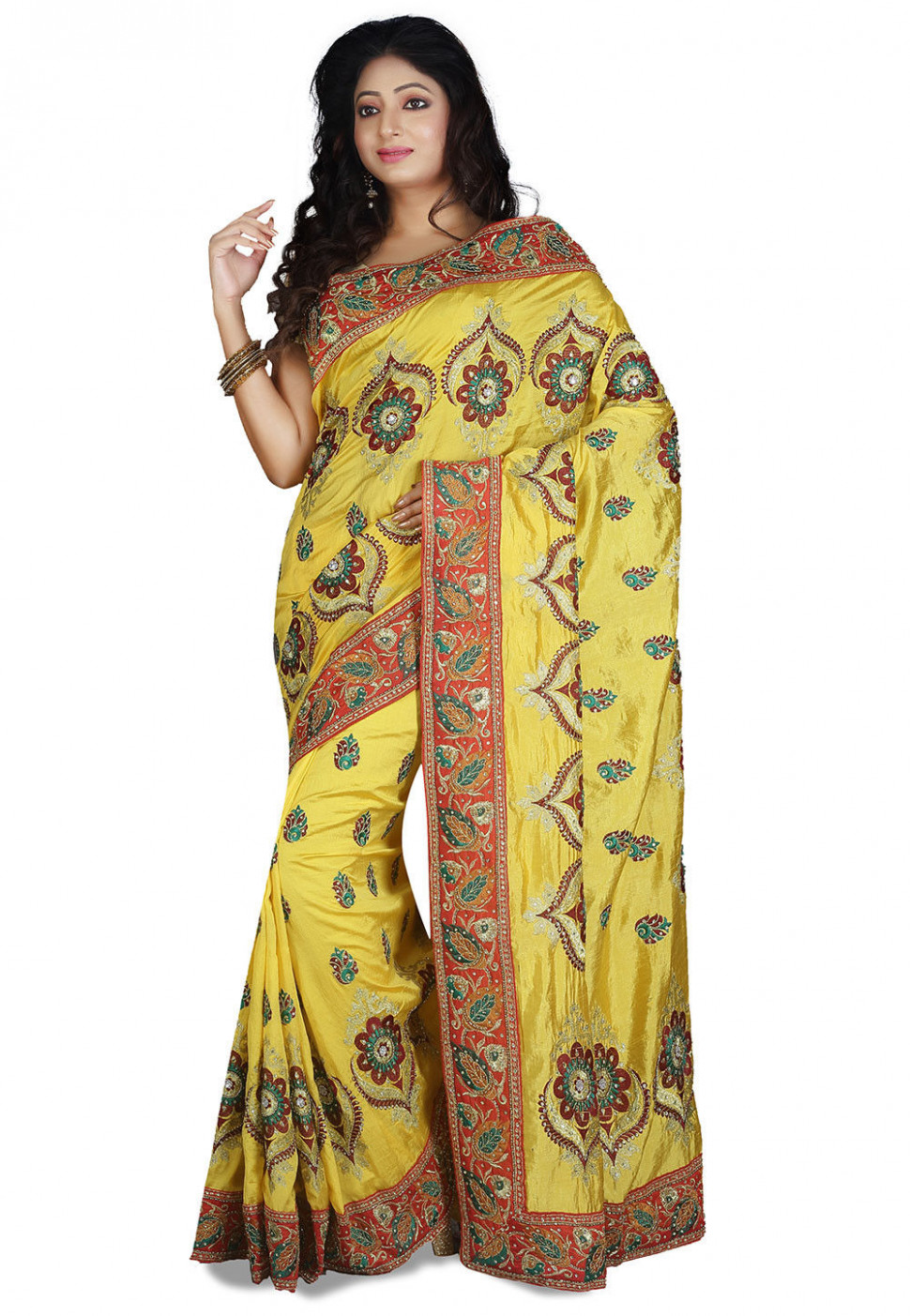 Embroidered Dupion Silk Saree in Yellow : SUD1621