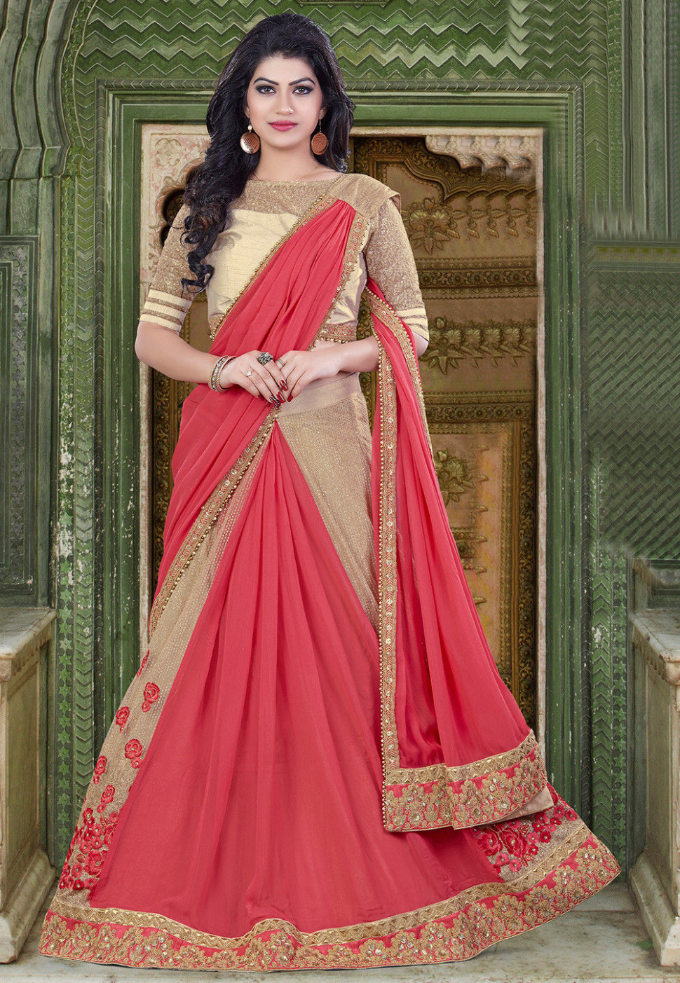 Embroidered Georgette Lehenga Style Saree in Pink and