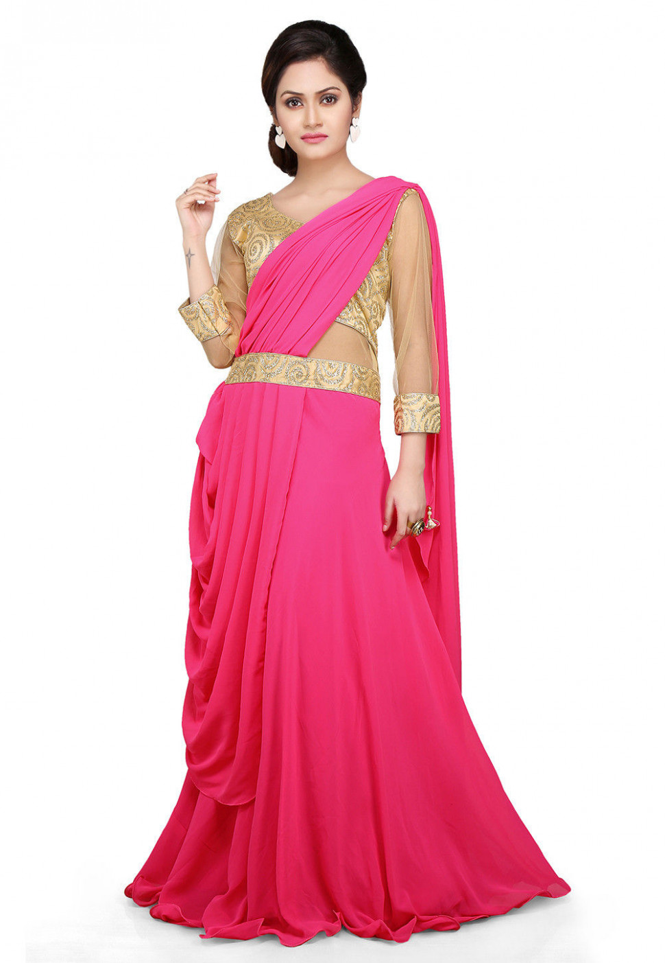 Embroidered Georgette Pleated Saree Style Gown in Pink