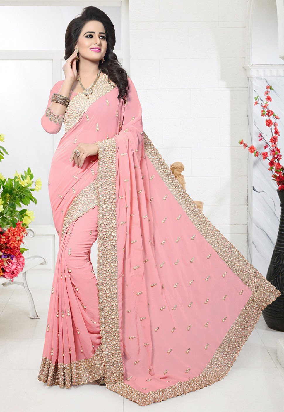 Embroidered Georgette Saree in Peach : SSHA1198 - peach saree