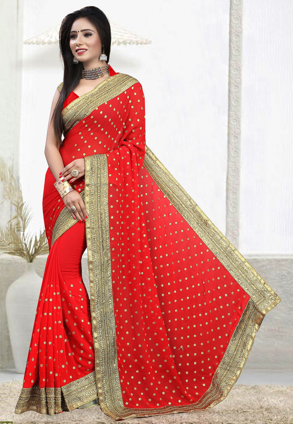 Embroidered Georgette Saree in Red : SFS423