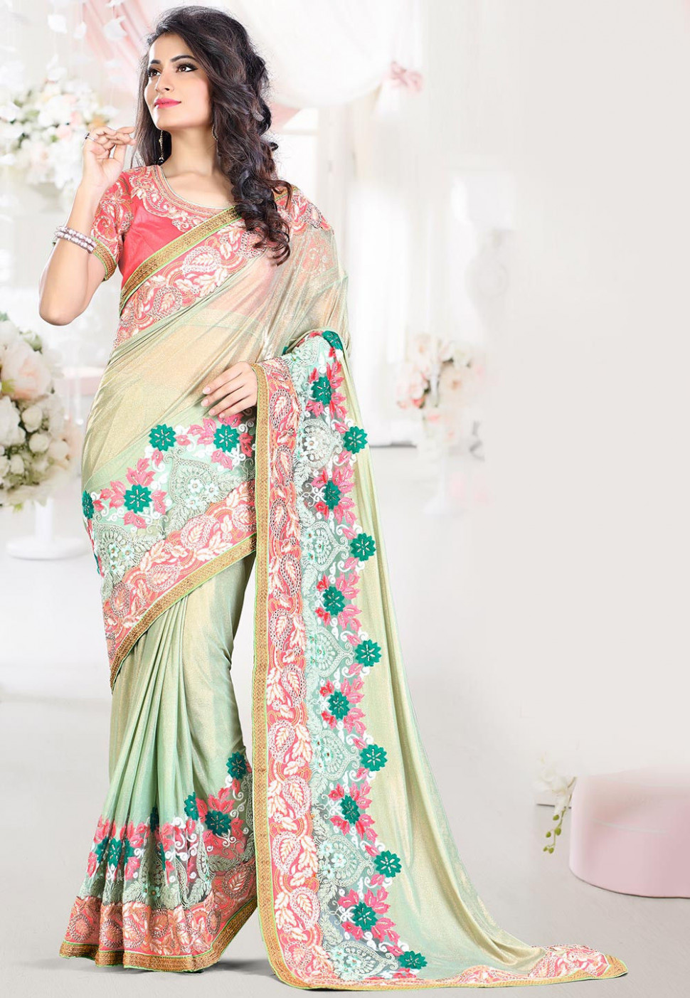 Embroidered Lycra Net Saree in Pastel Green : SWS5679
