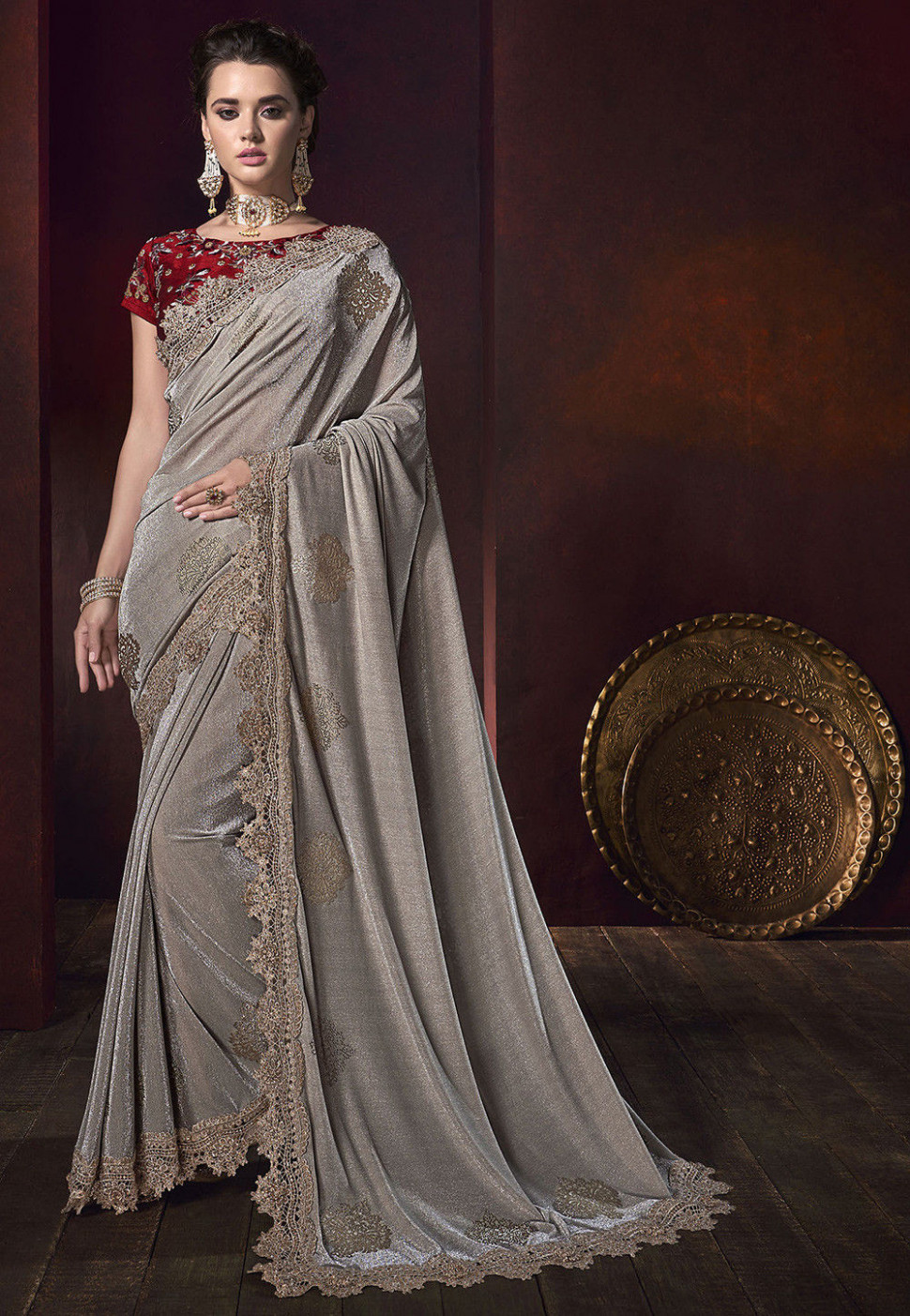 Embroidered Lycra Shimmer Saree in Grey : SYC9079