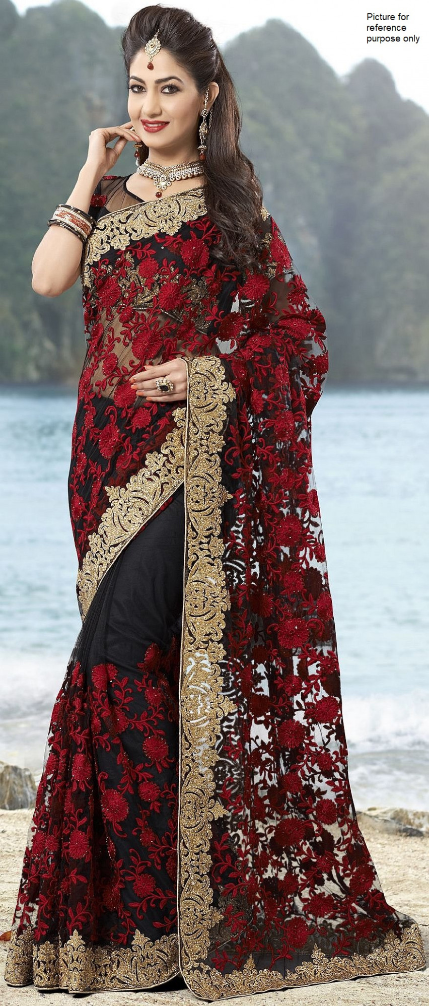 Embroidered Net Saree #DS 057 (Red & Black) - Simply