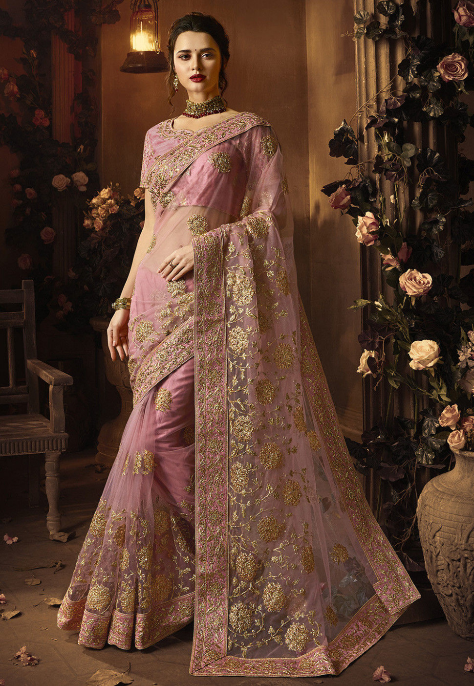 Embroidered Net Saree in Baby Pink : SFS933