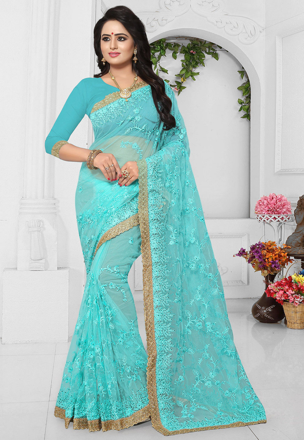Embroidered Net Saree in Light Blue : SCBA33