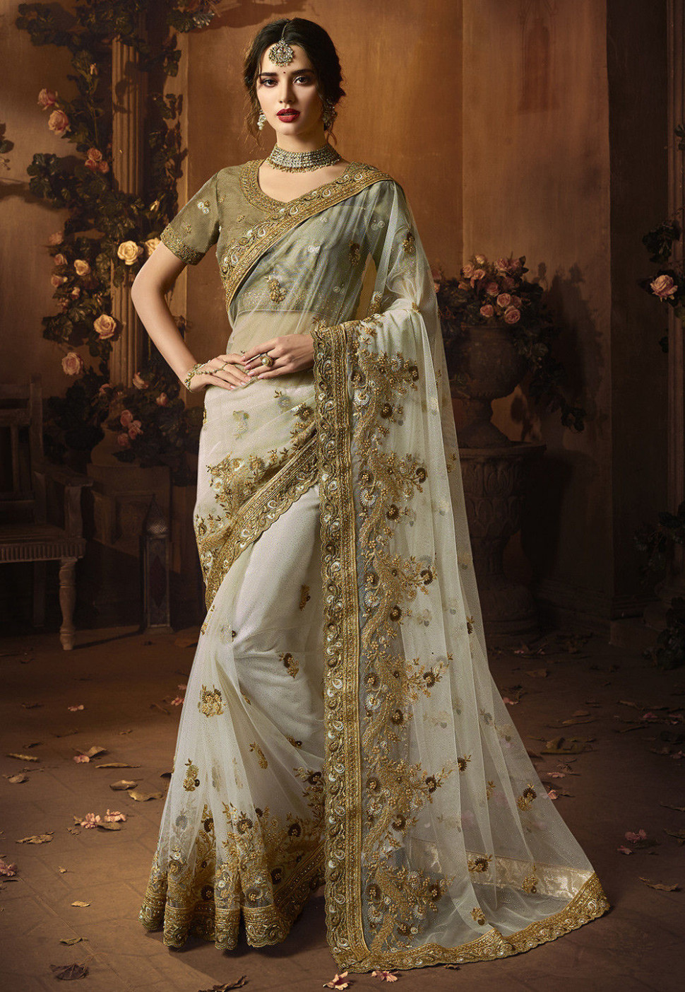 Embroidered Net Saree in Off White : SFS946