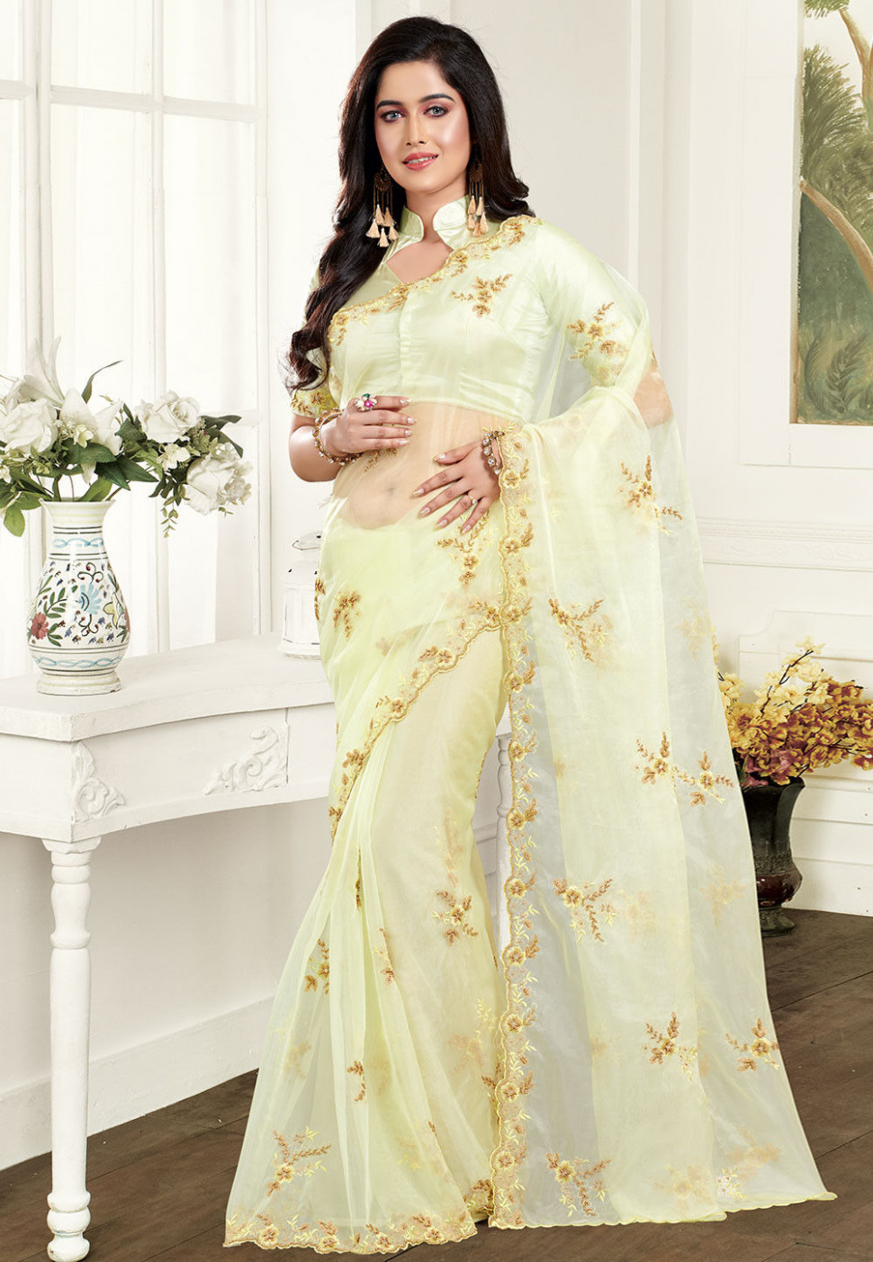 Embroidered Organza Saree in Pastel Yellow : STL918