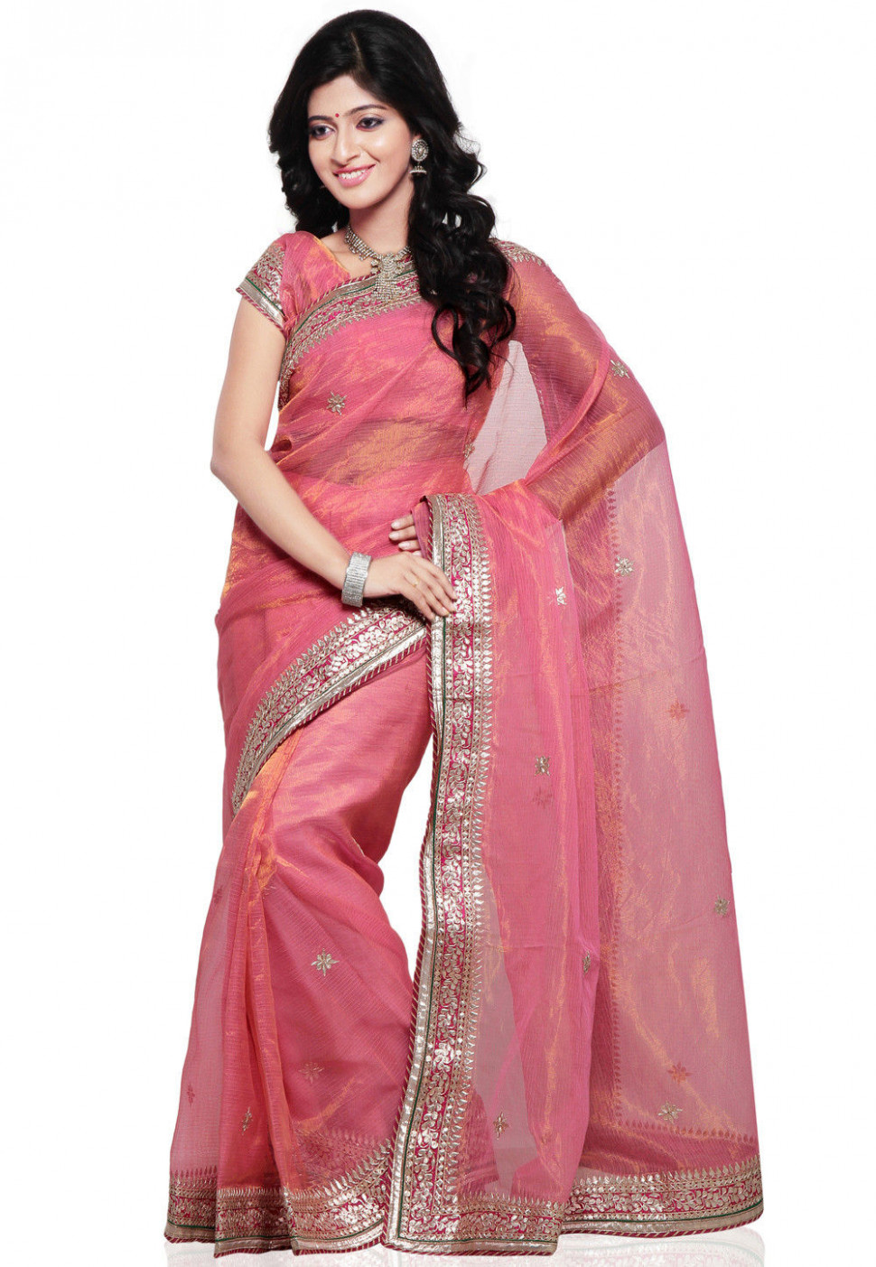 Embroidered Pure Kota Tissue Saree in Pink : SJN4693