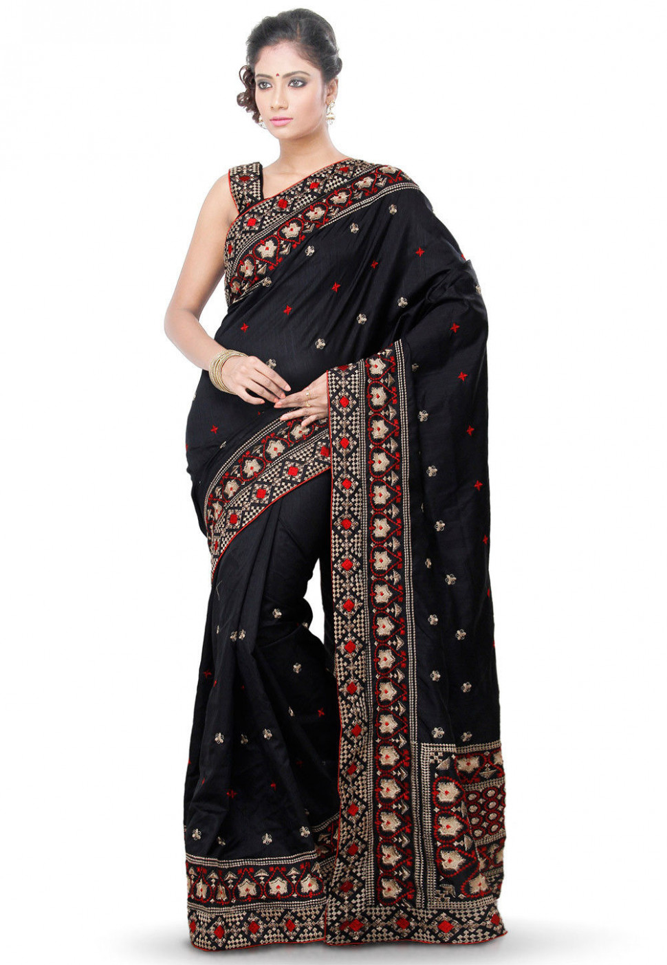 Embroidered Pure Silk Saree in Black : SUD959 - pure silk saree