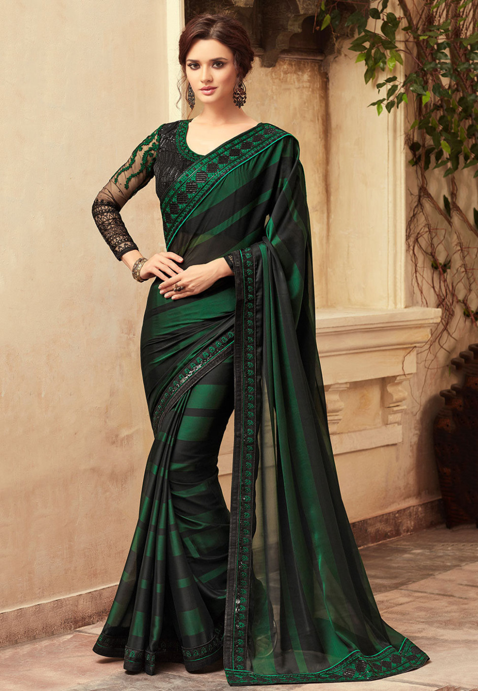 Embroidered Satin Chiffon Saree in Green and Black : SFVA634