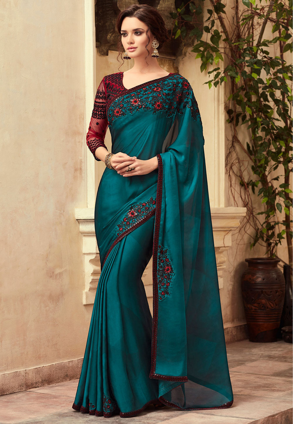 Embroidered Satin Chiffon Saree in Teal Blue : SFVA636