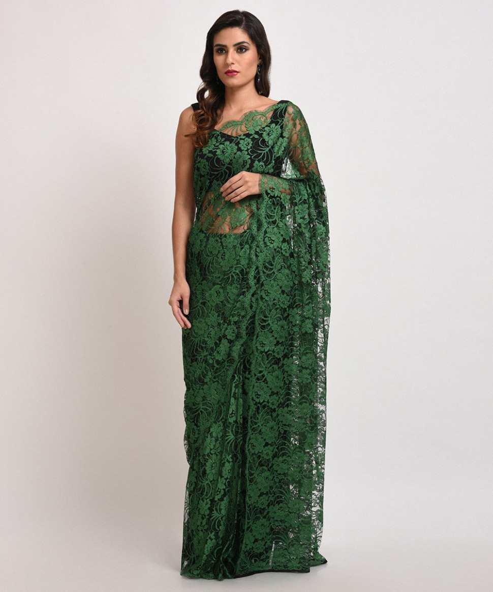 Emerald Green French Chantilly Lace Saree With Satin Crepe