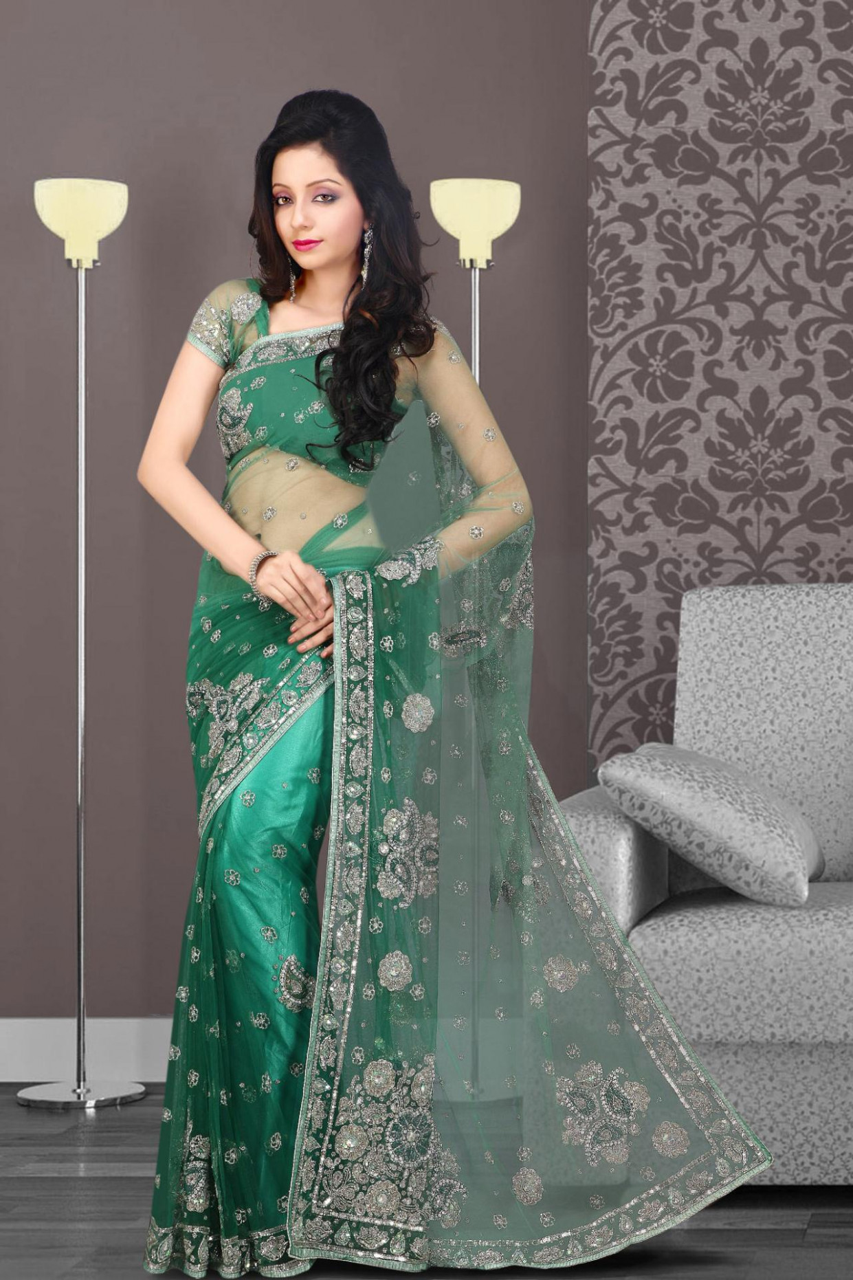 Emerald Green Net Saree 16954 With Unstitched Blouse