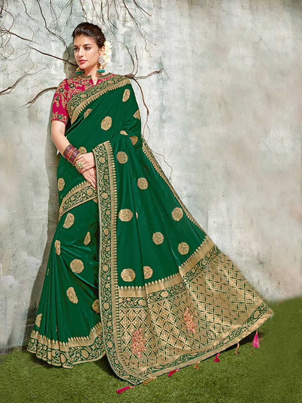 Emerald green semi silk festive saree - G3-WSA34400