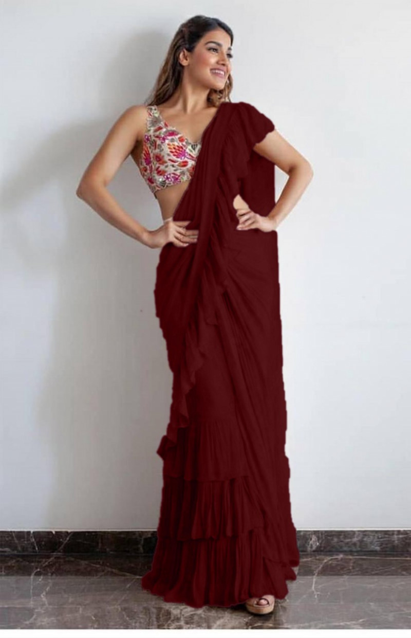 Exceptional Maroon Georgette Solid Ruffle Saree With